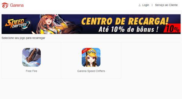 recarga jogo free fire
