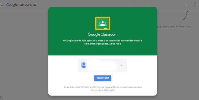 cadastro google sala de aula